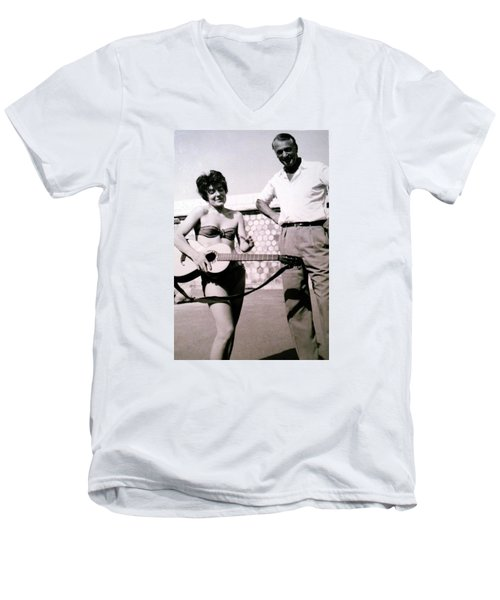 Mama Chris And Gary Cooper In Monte Carlo 1958 Men's V-Neck T-Shirt