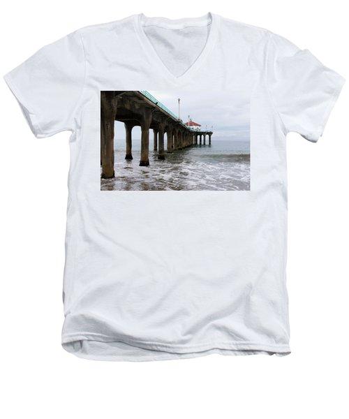 Manhattan Beach Pier Men's V-Neck T-Shirt