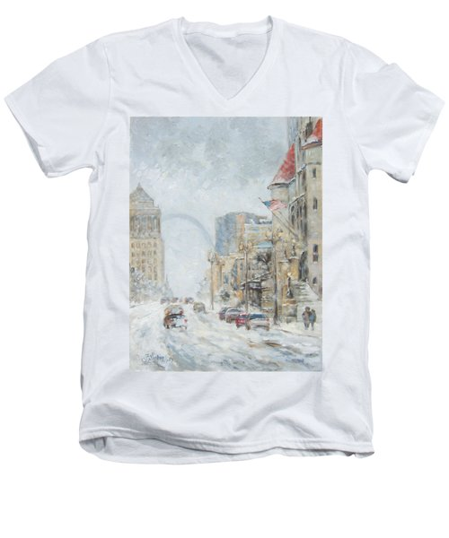 Market Street In Winter In St.louis Men's V-Neck T-Shirt