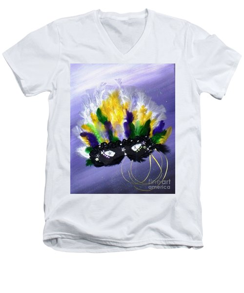Men's V-Neck T-Shirt featuring the painting Masque Over Bourbon Street by Alys Caviness-Gober