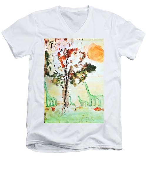 Men's V-Neck T-Shirt featuring the painting Matei's Dinosaurs by Evelina Popilian