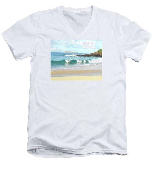 Maui Hawaii Beach Men's V-Neck T-Shirt by Rebecca Margraf