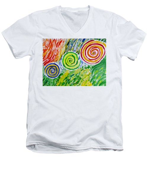 Men's V-Neck T-Shirt featuring the painting Meditation by Sonali Gangane