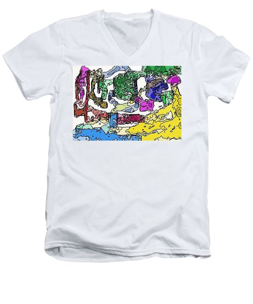 Men's V-Neck T-Shirt featuring the digital art Melting Troubles by Alec Drake