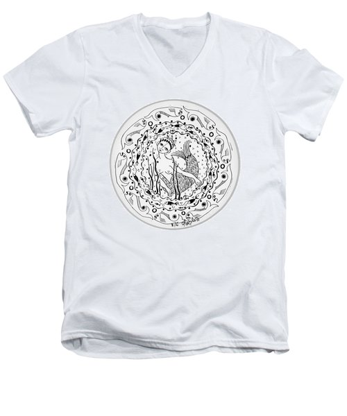Mermaid In Black And White Round Circle With Water Fish Tail Face Hands  Men's V-Neck T-Shirt by Rachel Hershkovitz