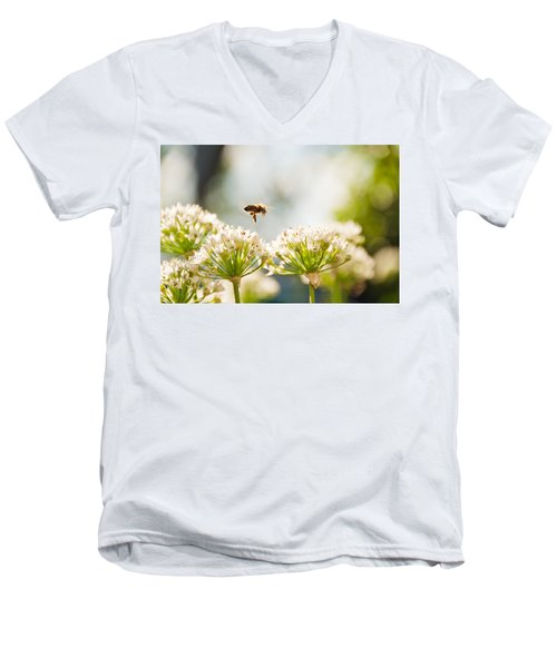 Men's V-Neck T-Shirt featuring the photograph Mid-pollenation by Cheryl Baxter