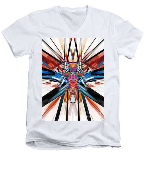 Men's V-Neck T-Shirt featuring the digital art Mirror Image Abstract by Phil Perkins