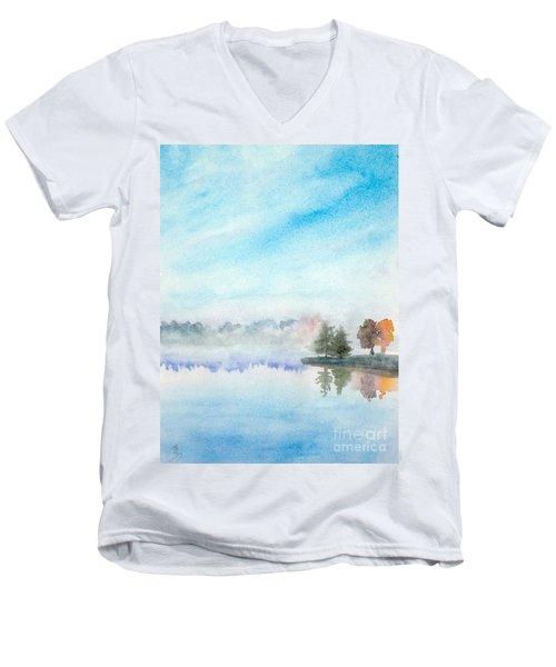 Misty Lake Men's V-Neck T-Shirt by Yoshiko Mishina