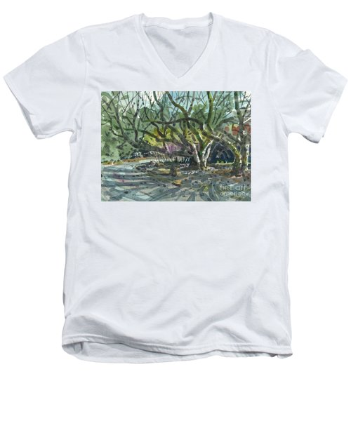 Men's V-Neck T-Shirt featuring the painting Monk Trees Two by Donald Maier