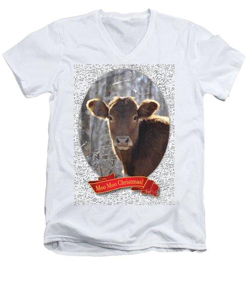 Moo Moo Christmas Men's V-Neck T-Shirt