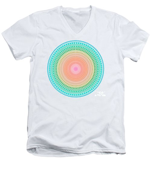 Multicolor Circle Men's V-Neck T-Shirt