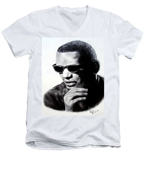 Men's V-Neck T-Shirt featuring the painting Music Legend Ray Charles by Jim Fitzpatrick