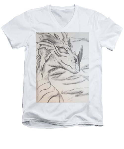 Men's V-Neck T-Shirt featuring the drawing My Dragon by Maria Urso