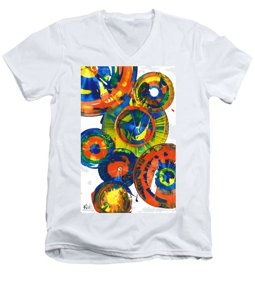 Men's V-Neck T-Shirt featuring the painting My Magical Spheres    859.121811 by Kris Haas