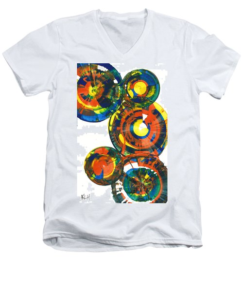 Men's V-Neck T-Shirt featuring the painting My Spheres Show Happiness  864.121811 by Kris Haas