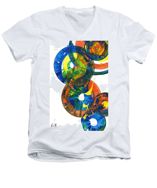 Men's V-Neck T-Shirt featuring the painting My Spherical Joy '' Jump Up ''  858.121711 by Kris Haas