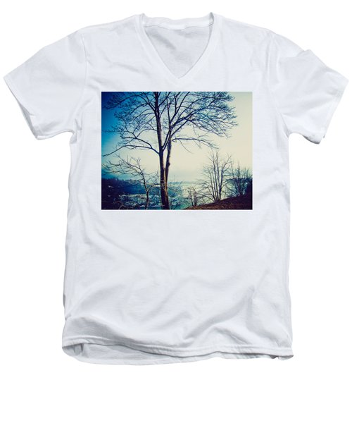 Men's V-Neck T-Shirt featuring the photograph Mystic Blue by Sara Frank