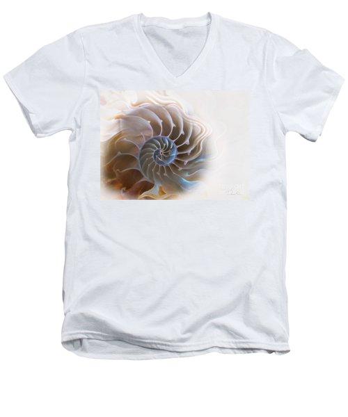 Natural Spiral Men's V-Neck T-Shirt by Danuta Bennett