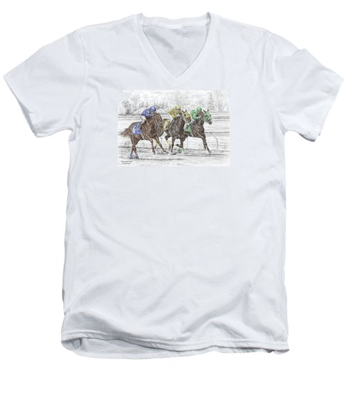 Men's V-Neck T-Shirt featuring the drawing Neck And Neck - Horse Race Print Color Tinted by Kelli Swan