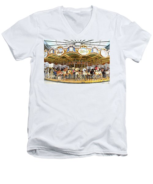 Men's V-Neck T-Shirt featuring the photograph New York Carousel by Alice Gipson