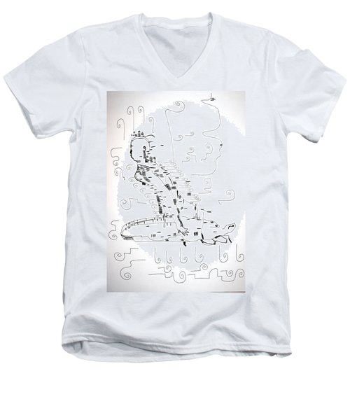 Men's V-Neck T-Shirt featuring the drawing Ngwale Dance - Botswana by Gloria Ssali