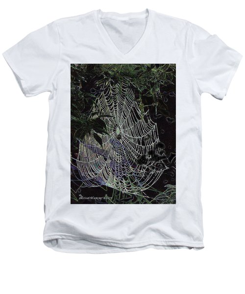 Men's V-Neck T-Shirt featuring the photograph Night Lines by EricaMaxine  Price