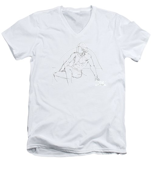 Nude-male-drawings-13 Men's V-Neck T-Shirt