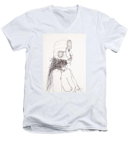 Nude With Hat On Bus Men's V-Neck T-Shirt by Rand Swift