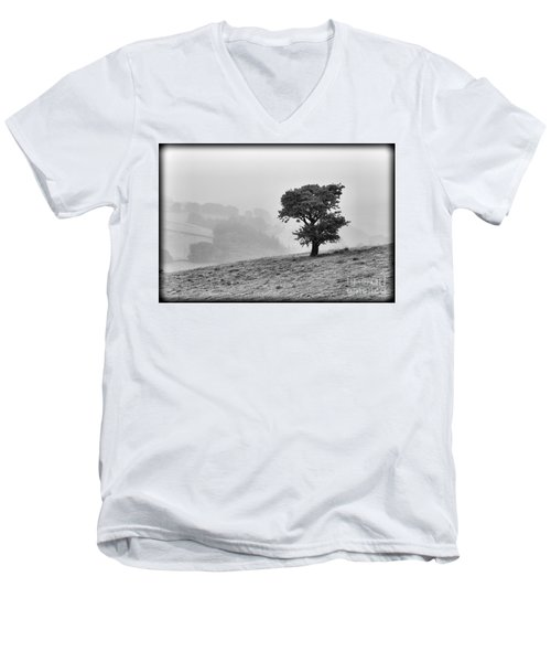 Men's V-Neck T-Shirt featuring the photograph Oak Tree In The Mist. by Clare Bambers