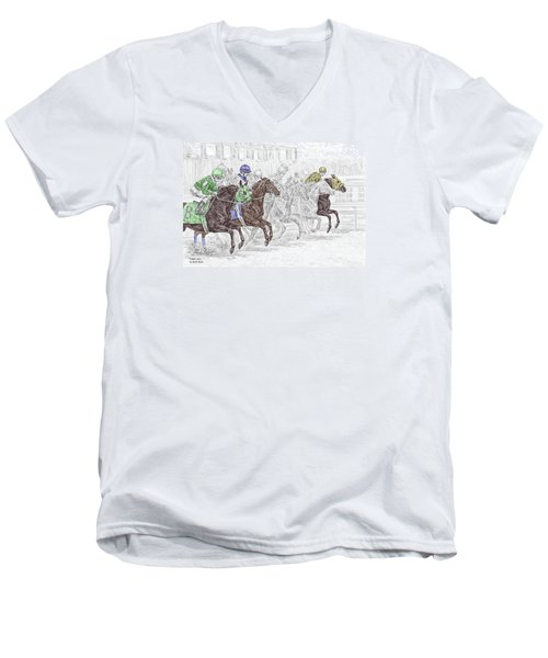 Men's V-Neck T-Shirt featuring the drawing Odds Are - Tb Horse Racing Print Color Tinted by Kelli Swan
