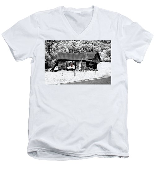 Men's V-Neck T-Shirt featuring the photograph Old Barns With Red Gate by Susan Leggett
