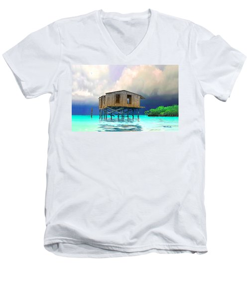 Old House Near The Storm Filtered Men's V-Neck T-Shirt