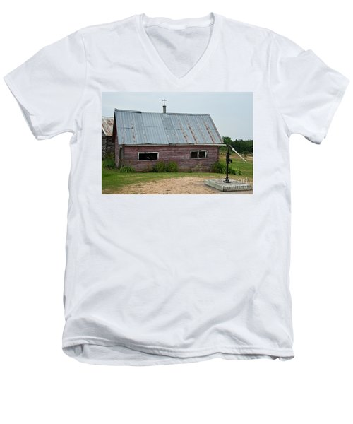 Men's V-Neck T-Shirt featuring the photograph Old Wood Shed  by Barbara McMahon