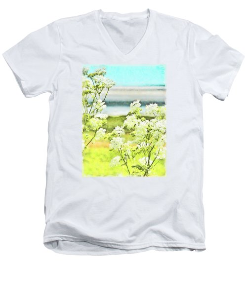 Men's V-Neck T-Shirt featuring the digital art On The Mudflats Of Pegwell Bay by Steve Taylor