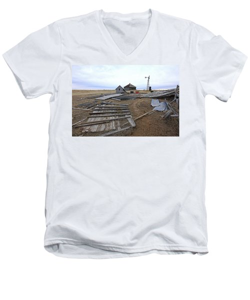 Men's V-Neck T-Shirt featuring the photograph Once There Was A Farm by James Steele