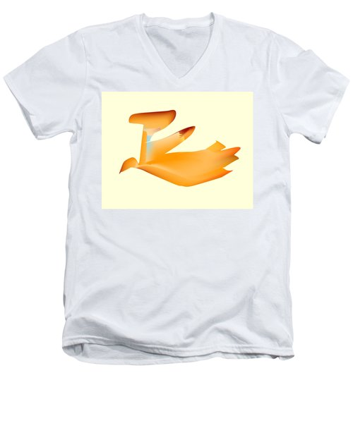 Orange Jetpack Penguin Men's V-Neck T-Shirt