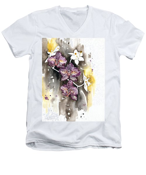 Men's V-Neck T-Shirt featuring the painting Orchid 13 Elena Yakubovich by Elena Yakubovich