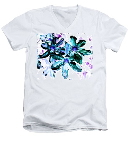 Organic Techno Flowers Men's V-Neck T-Shirt