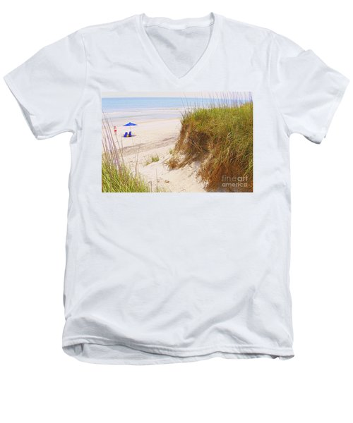 Men's V-Neck T-Shirt featuring the photograph Outerbanks by Lydia Holly