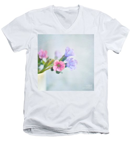 Pale Pink And Purple Pulmonaria Flowers Men's V-Neck T-Shirt by Lyn Randle