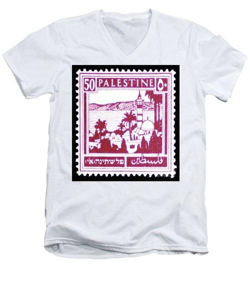 Palestine Vintage Postage Stamp Men's V-Neck T-Shirt by Andy Prendy
