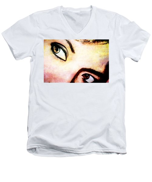 Men's V-Neck T-Shirt featuring the photograph Passionate Eyes by Ester  Rogers