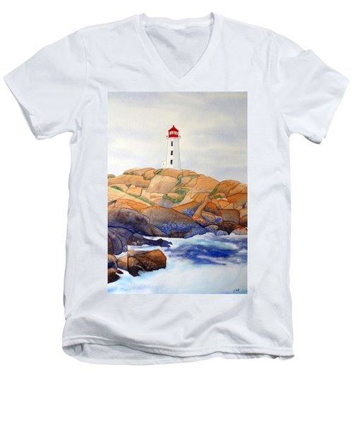 Men's V-Neck T-Shirt featuring the painting Peggy's Cove by Laurel Best
