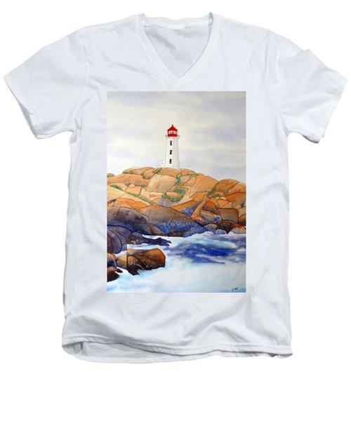 Peggy's Cove Men's V-Neck T-Shirt by Laurel Best