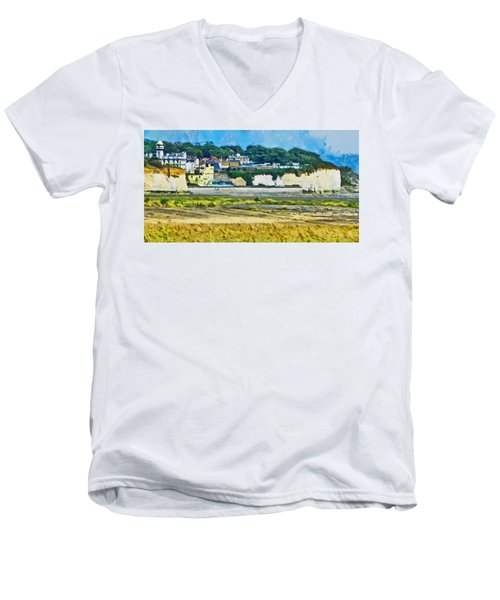 Men's V-Neck T-Shirt featuring the digital art Pegwell Bay by Steve Taylor