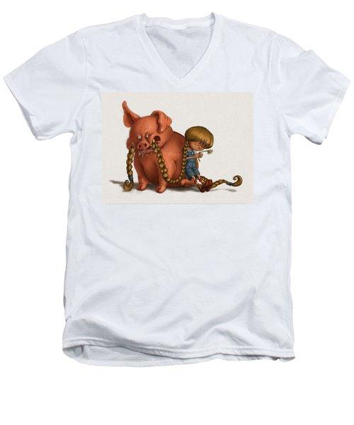 Pig Tales Chomp Men's V-Neck T-Shirt by Andy Catling