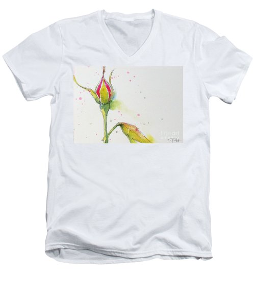 Pink Rosebud Men's V-Neck T-Shirt