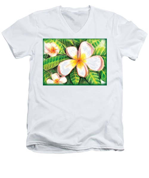 Plumeria With Foliage Men's V-Neck T-Shirt