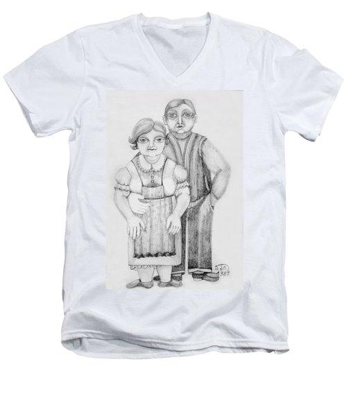 Polish Couple Men's V-Neck T-Shirt by Rachel Hershkovitz