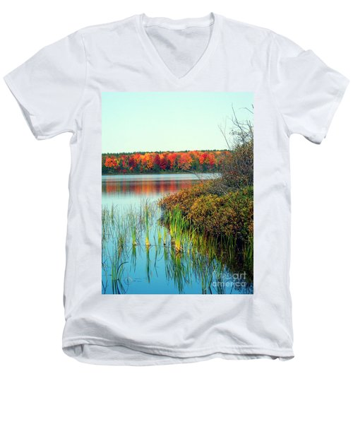Pond In The Woods In Autumn Men's V-Neck T-Shirt